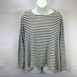 Cabi Blue White Striped Long Sleeve Blouse 561